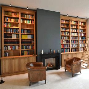 Bibliotheek kasten massief eikenhout