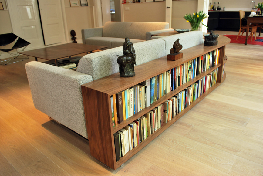 Nice Low Walnut Bookcase Behind Sofa